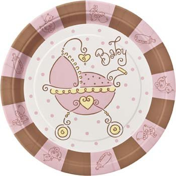 Baby Shower Bord 23 cm Pink