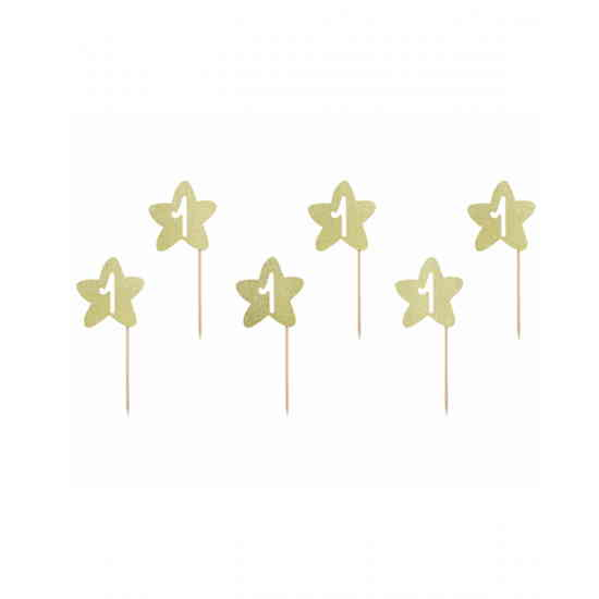 6 Cake Toppers 1st Birthday Stars-0