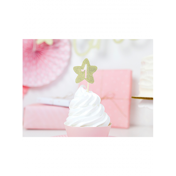 6 Cake Toppers 1st Birthday Stars-23432